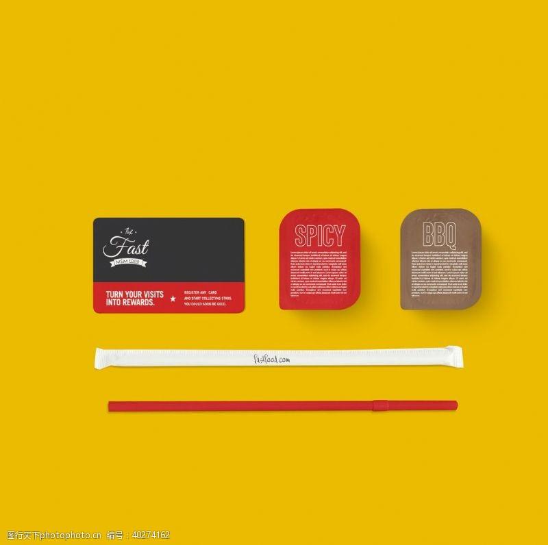 西式快餐鸡块番茄酱套装VI样机图片