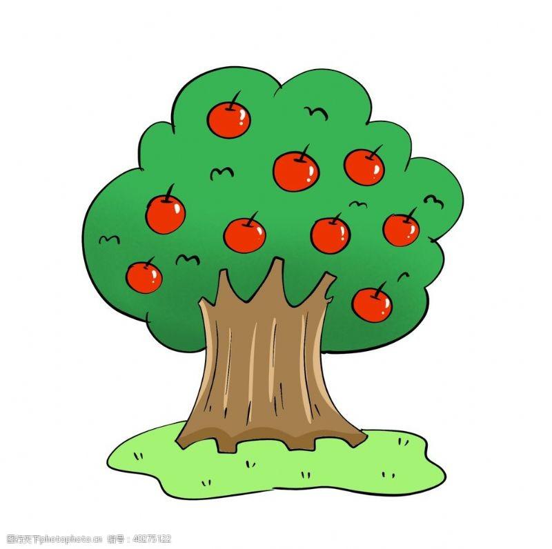 矢量水果原创手绘水果苹果树图片