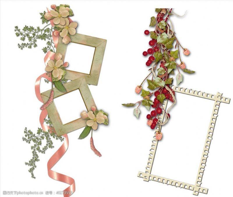 彩带植物装饰相框png图片