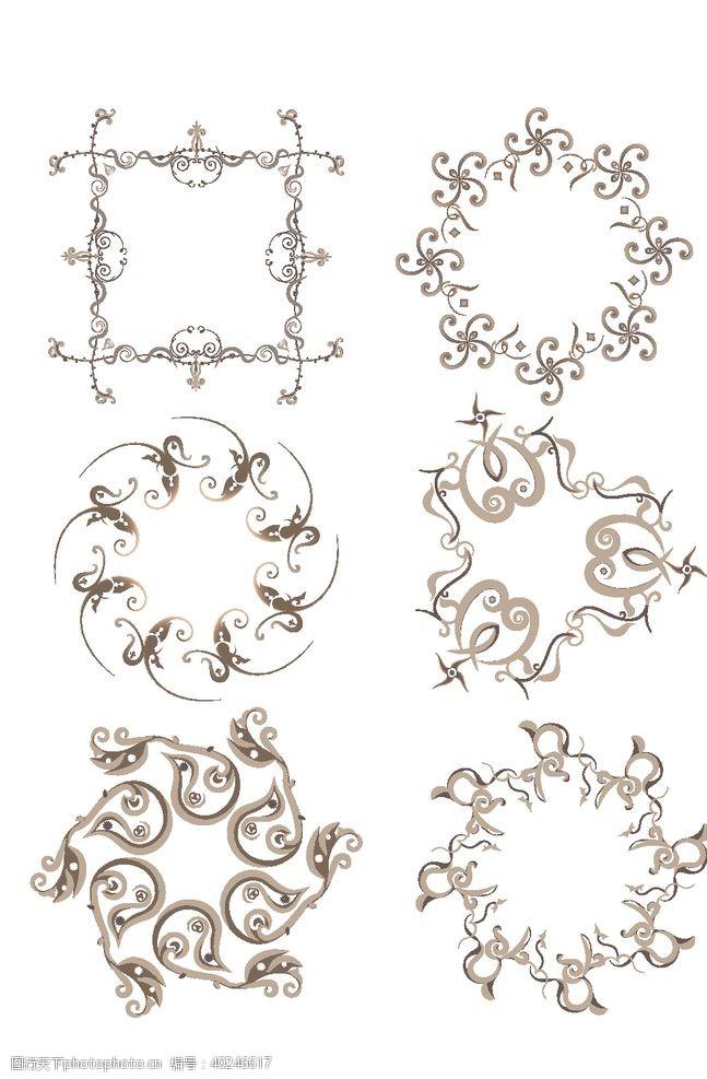 中式圆形花纹图片