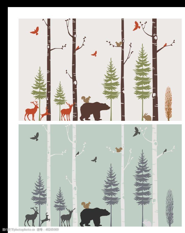 卡通背景白桦林清新可爱动物背景墙图片