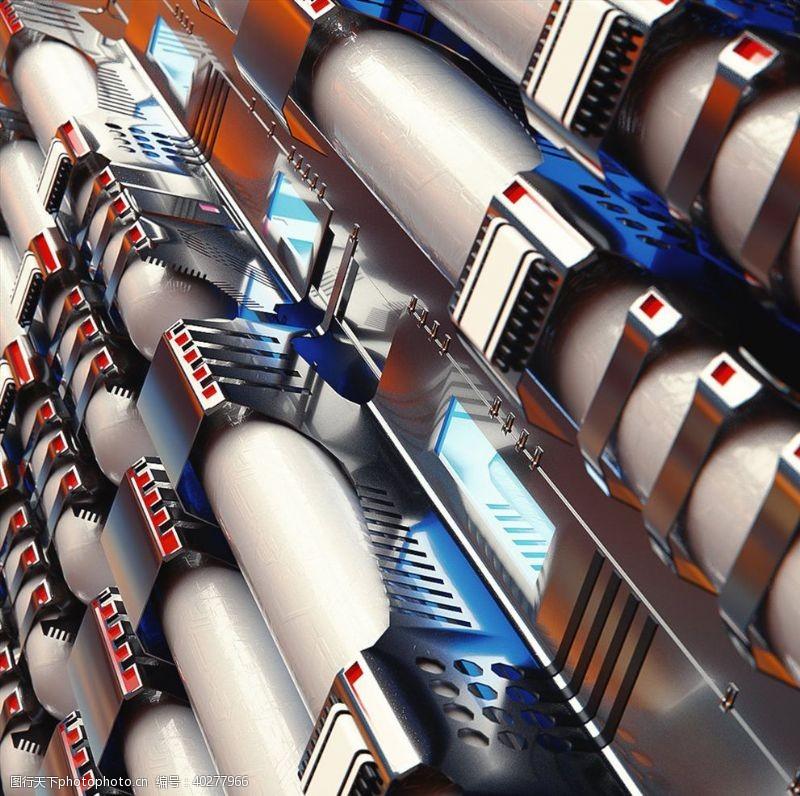 C4D模型空间站背景太空炫酷图片