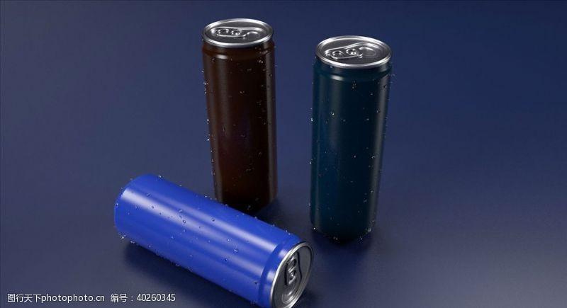 C4D模型细长汽水瓶子铝罐图片