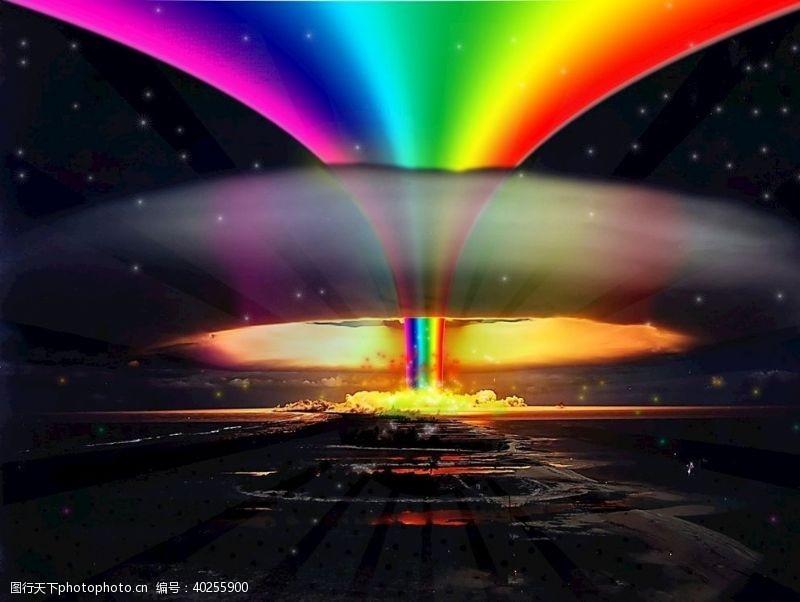 彩虹蘑菇云图片