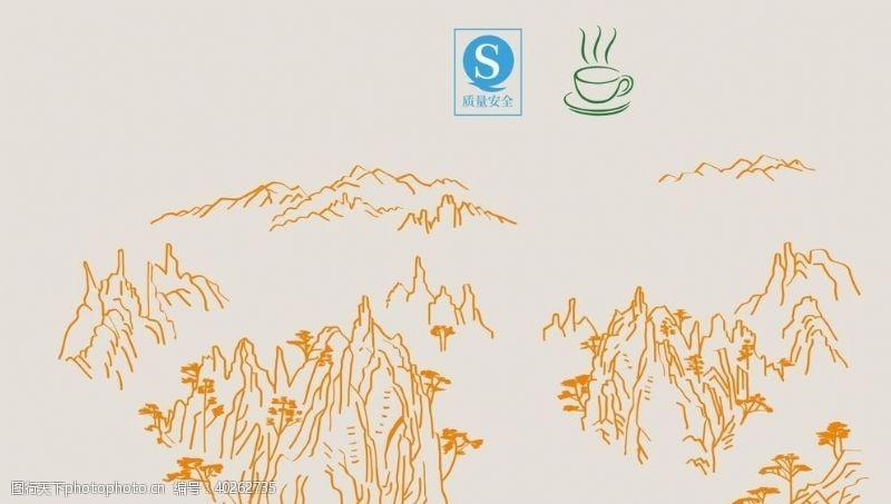 矢量小插图茶元素山矢量图片