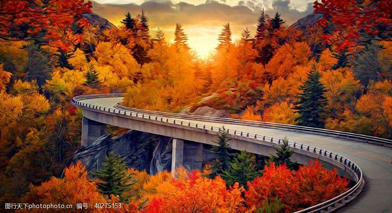 花草树木公路风景油画图片