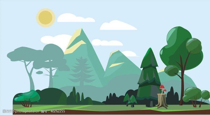 公园花园插图图片