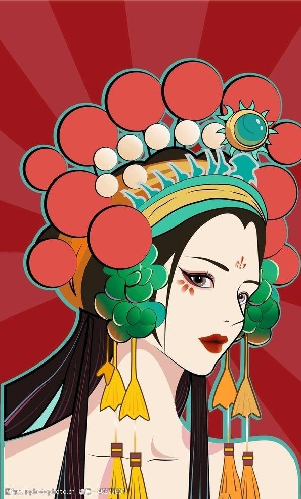 女生国风插画图片
