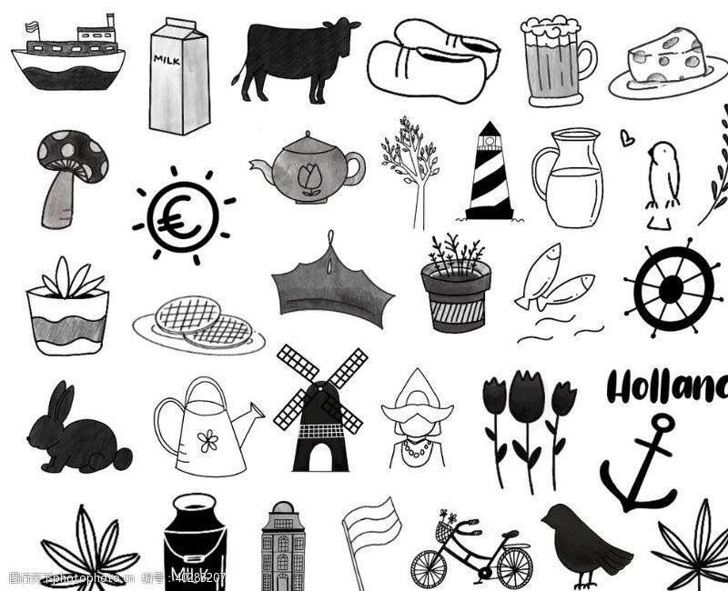 盆栽黑白铅笔素描日常生活用品图片