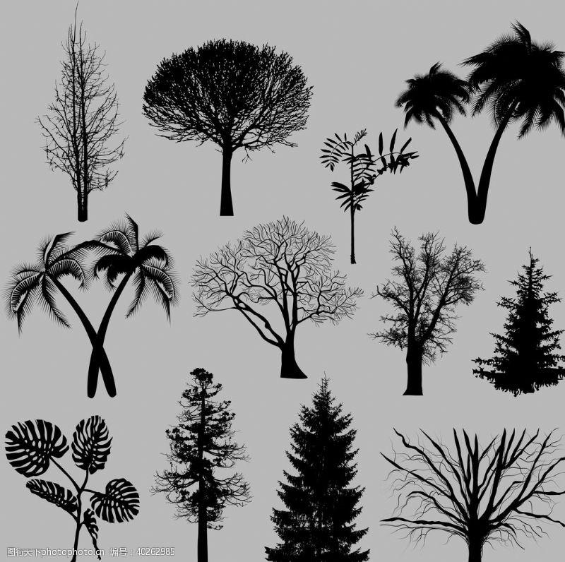植物剪影剪影矢量剪影树木图片