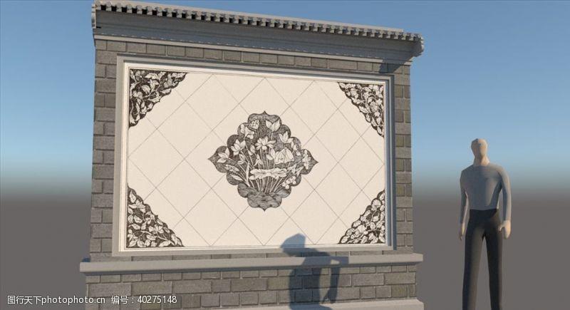 室外模型景墙影壁SU模型图片
