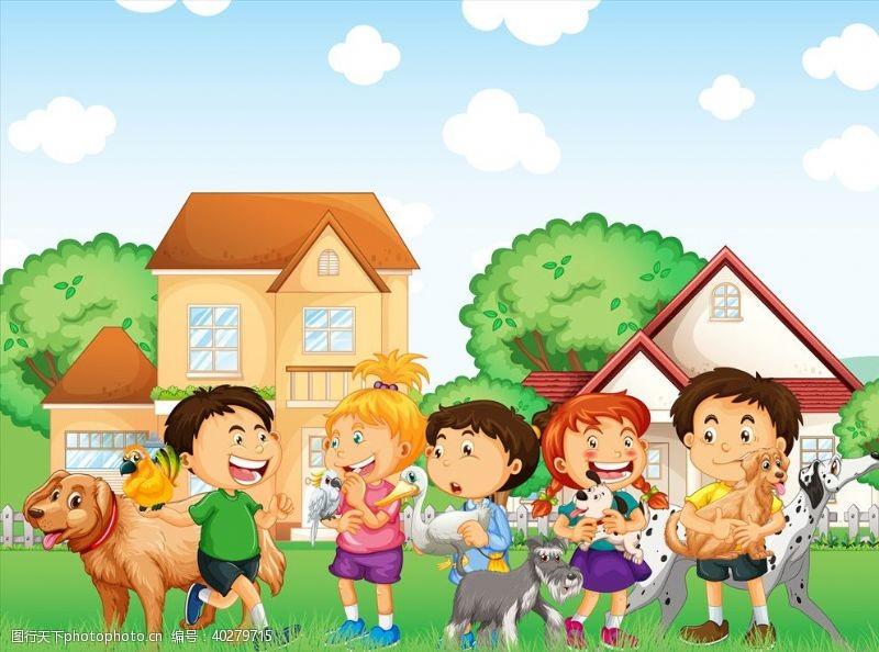 卡通小动物卡通儿童和动物图片