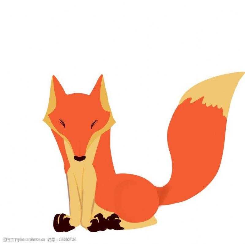 线描卡通狐狸手绘图片