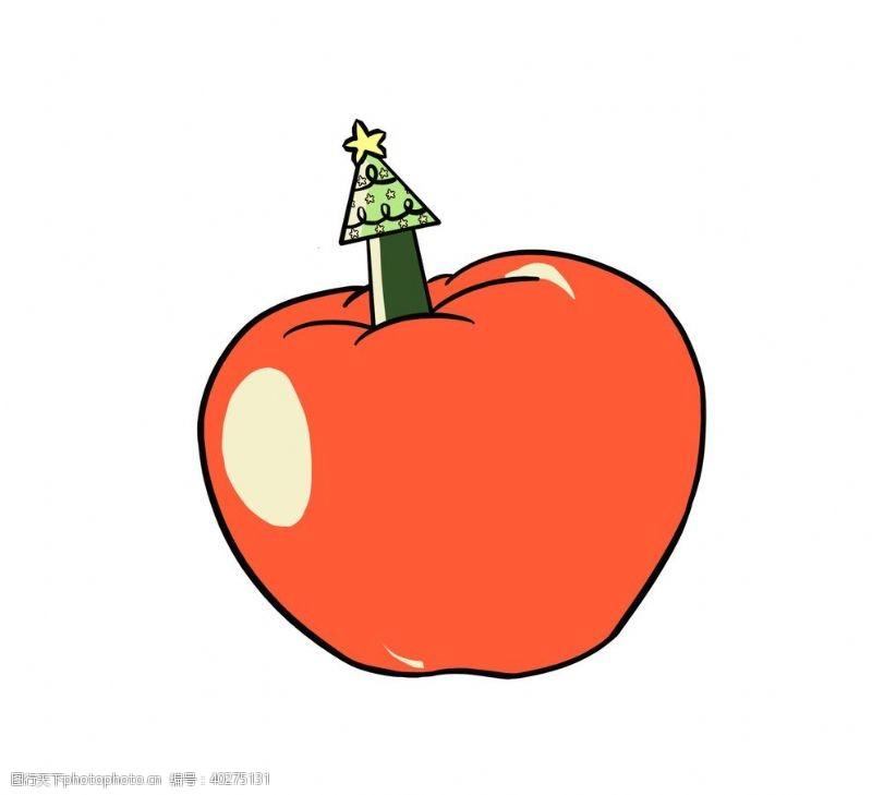 矢量水果卡通圣诞手绘圣诞树苹果平安夜图片