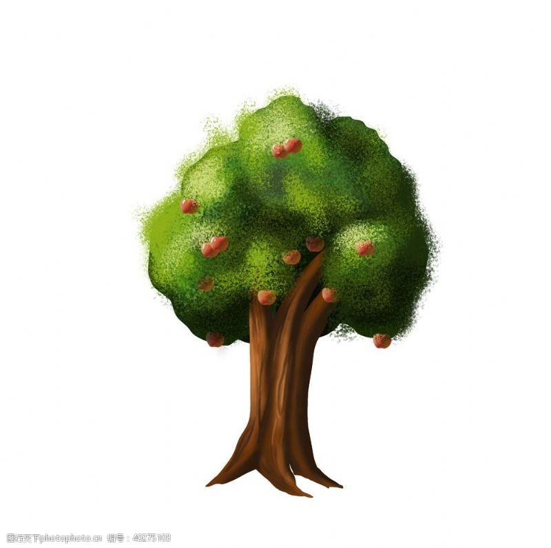 装饰素材卡通手绘苹果树图片