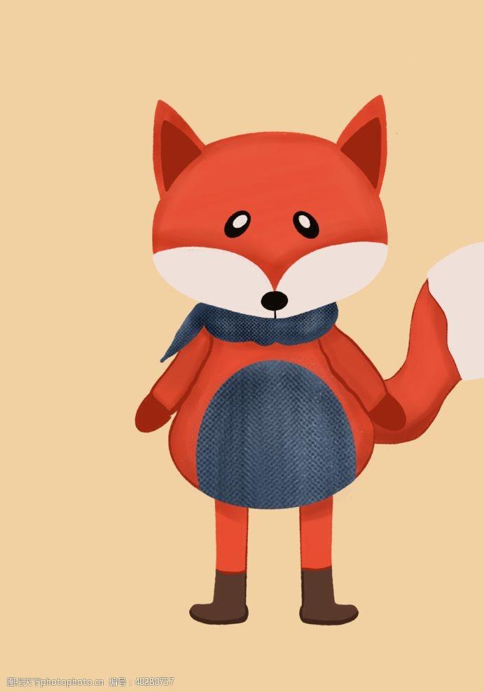 线描卡通小狐狸图片