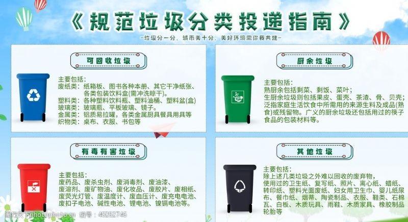校园文化墙垃圾分类投递指南展板图片