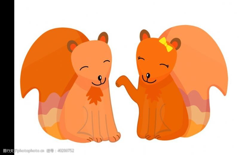 线描情侣小狐狸图片