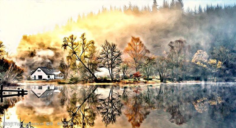 花草树木山村风景油画图片