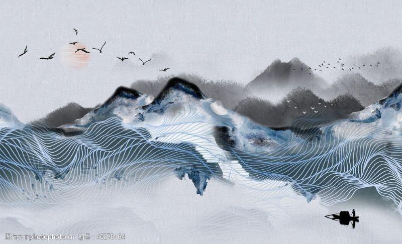 玉石山水画中式背景墙装饰画图片