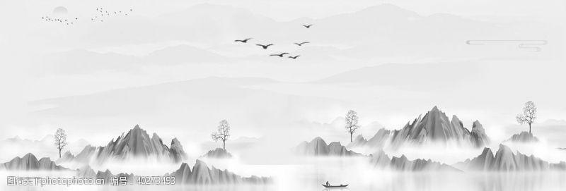 山水手绘画图片