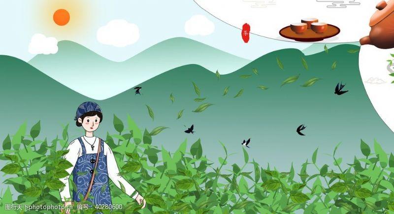 茶文化手绘卡通采茶女插画图片