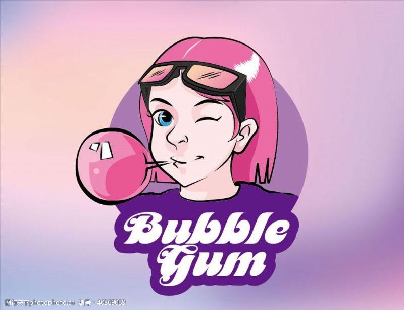 眼镜手绘卡通粉色短发女孩吹泡泡糖图片