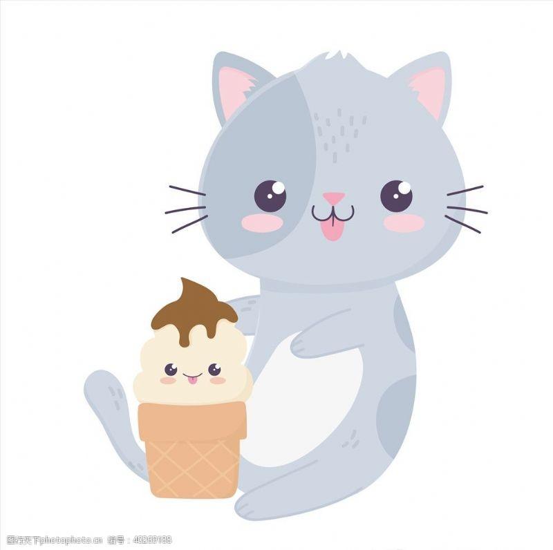 动物印花手绘卡通猫图片