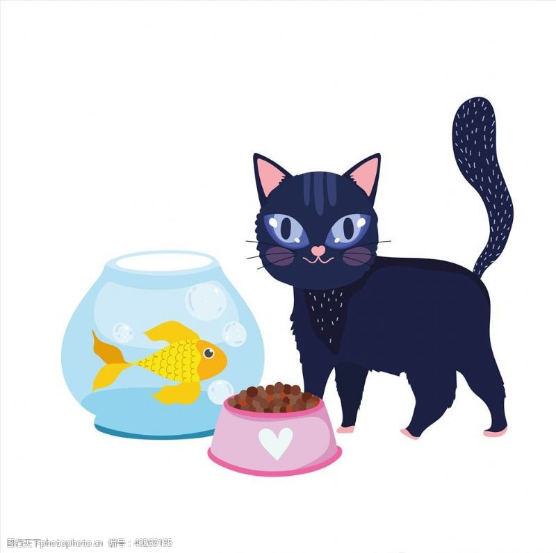 卡通小动物手绘卡通猫图片