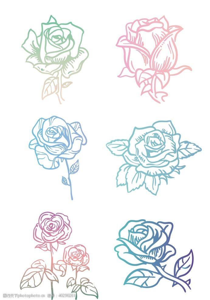 轮廓手绘马卡克七彩玫瑰图片