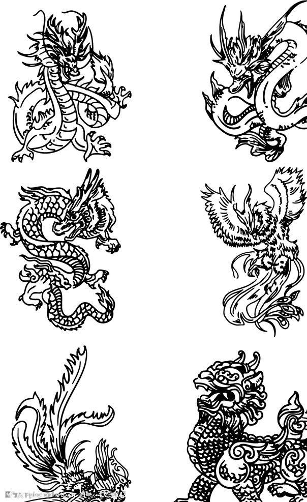 手绘中国神话传奇神兽龙凤麒麟图片