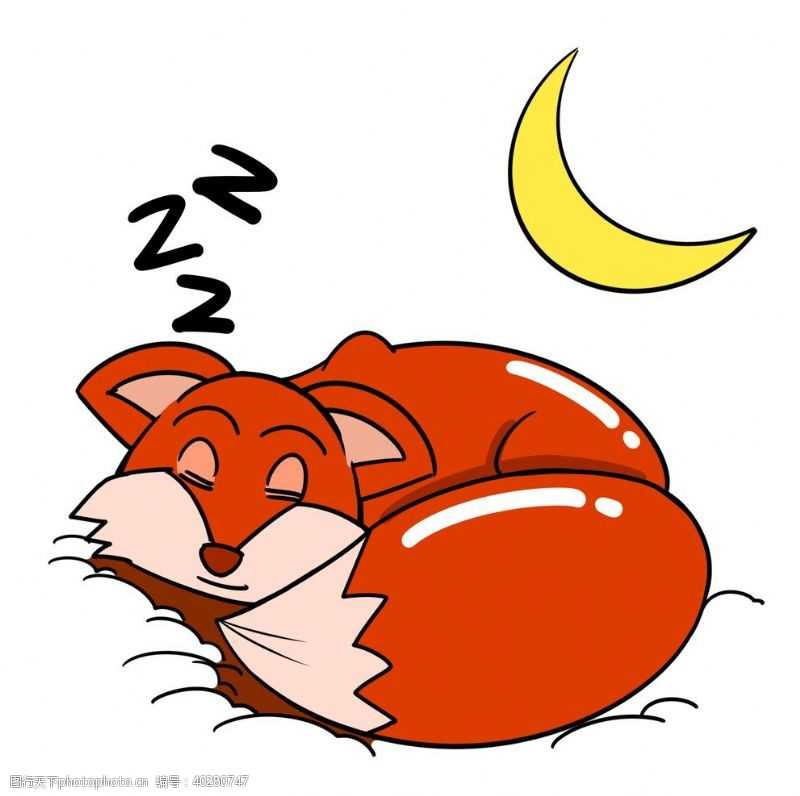 线描睡着的狐狸图片