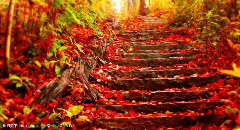 花草树木台阶风景油画图片