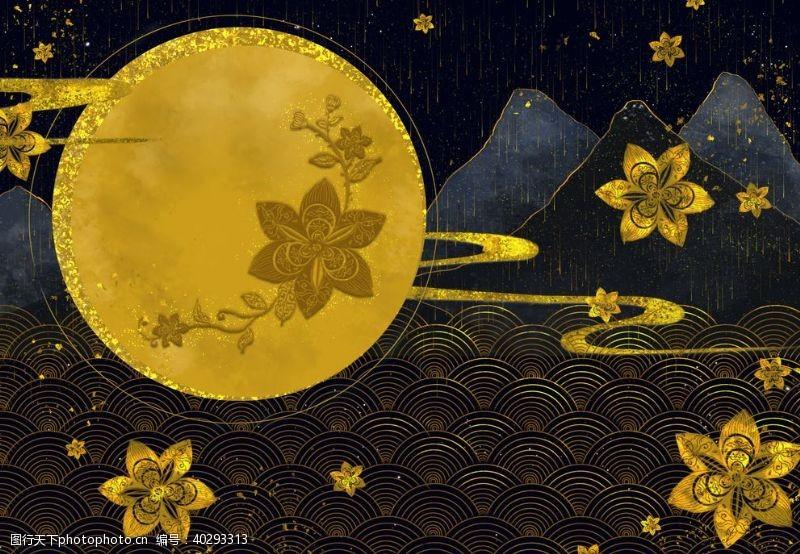 荷叶烫金中国风图片