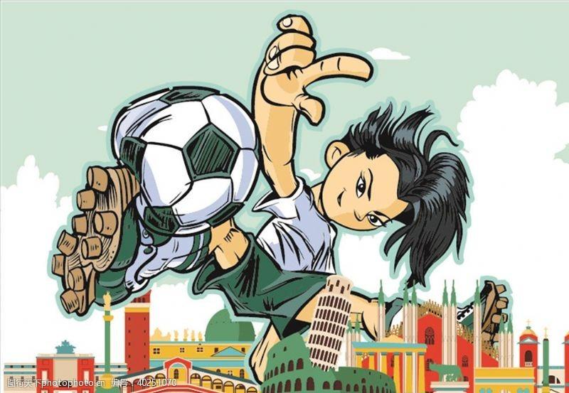 足球场踢足球图片