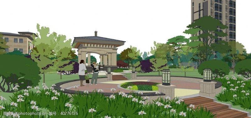 展示设计现代欧式小区景观园林设计效果图图片