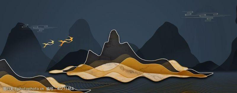 254dpi线条山水图片