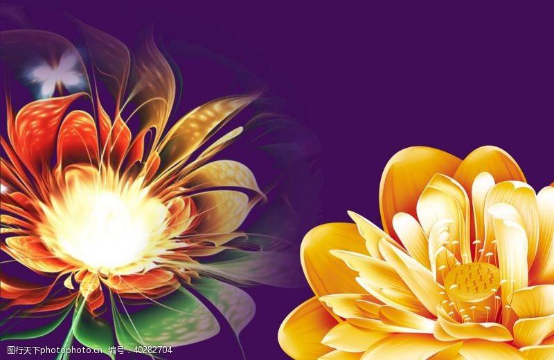花背景绽放花朵图片