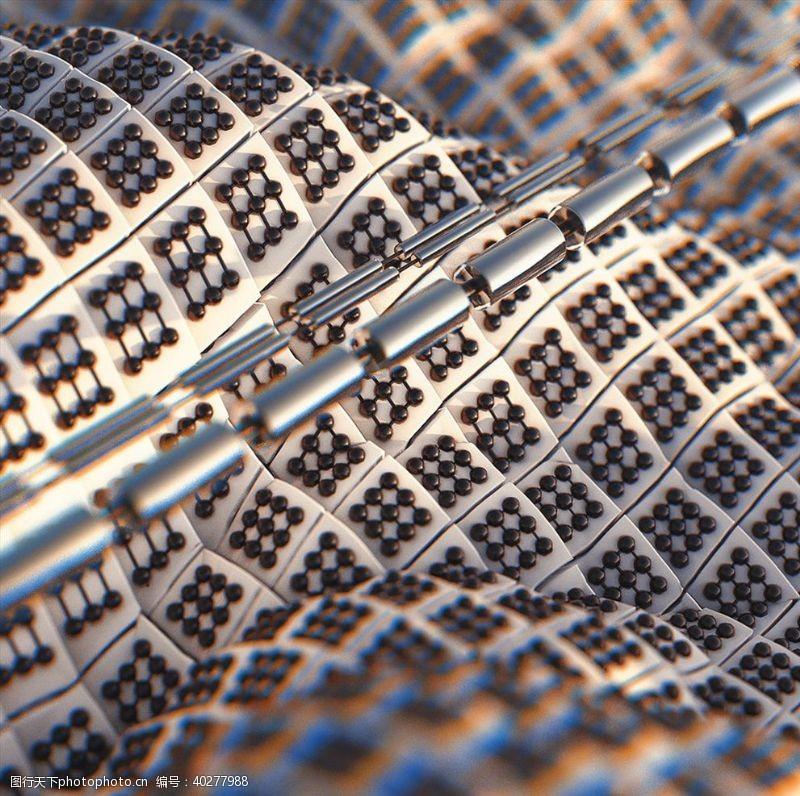 抽象背景C4D模型机械电路板零件设备图片