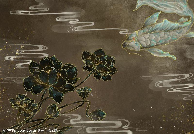 古风池塘烫金中国风图片