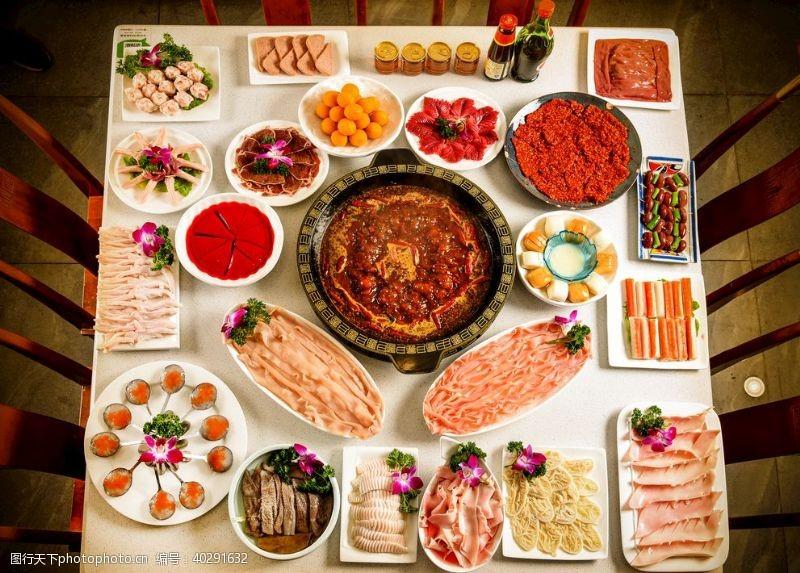 丰盛的火锅食材图片