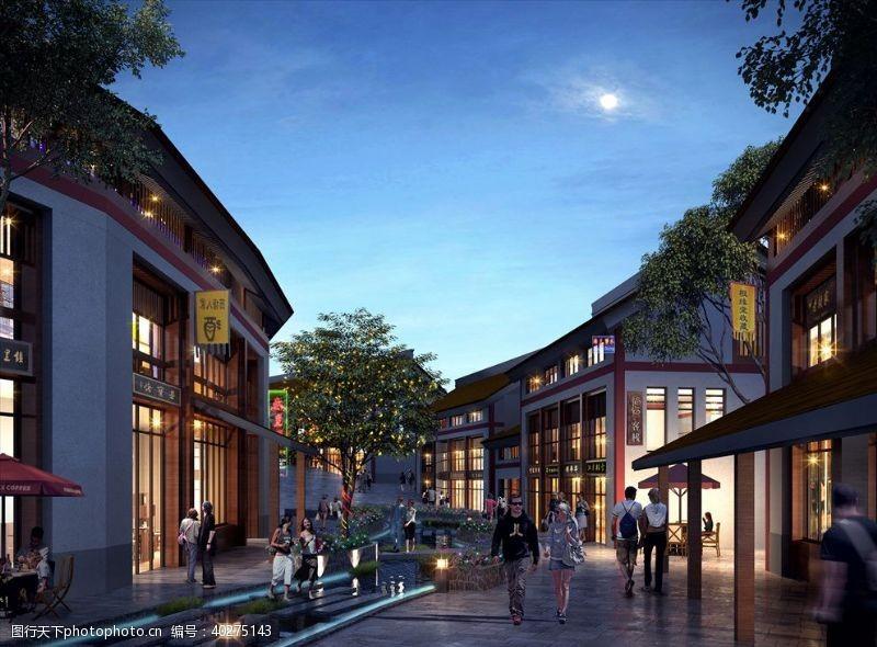 室外模型古建商业步行街透视图商业街图片