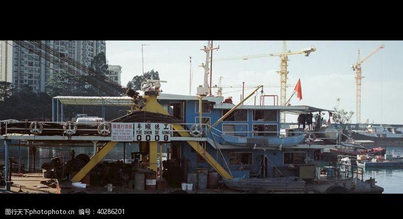 海边渔港彩色摄影图片