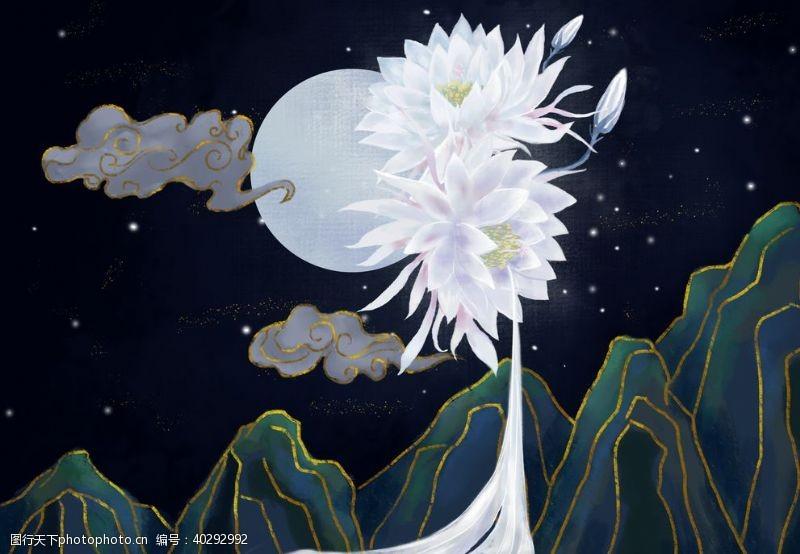 山水荷花莲花背景夜景图片
