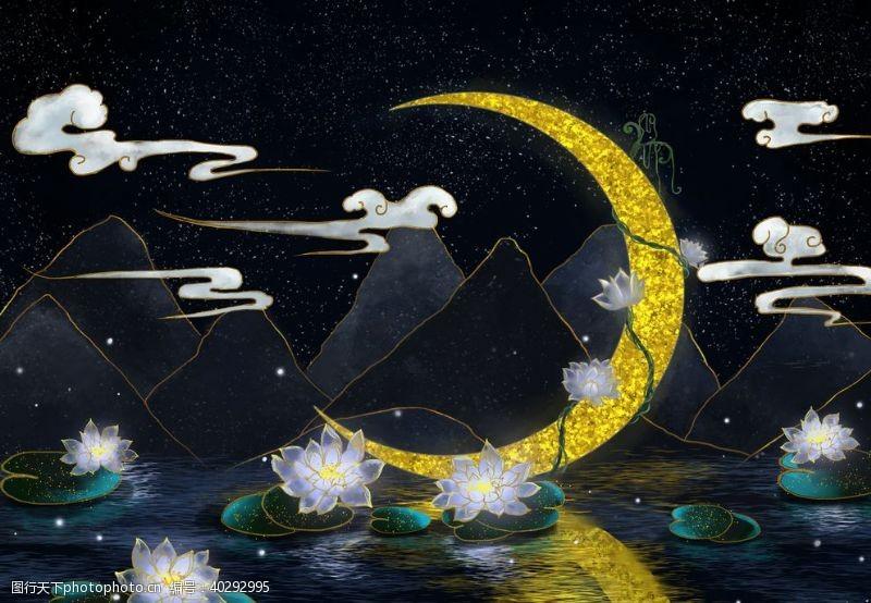 莲花荷塘夜景图片
