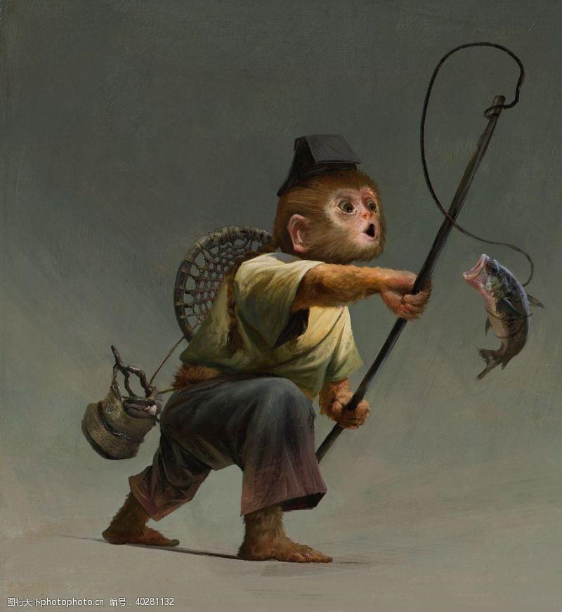 油画猴图片