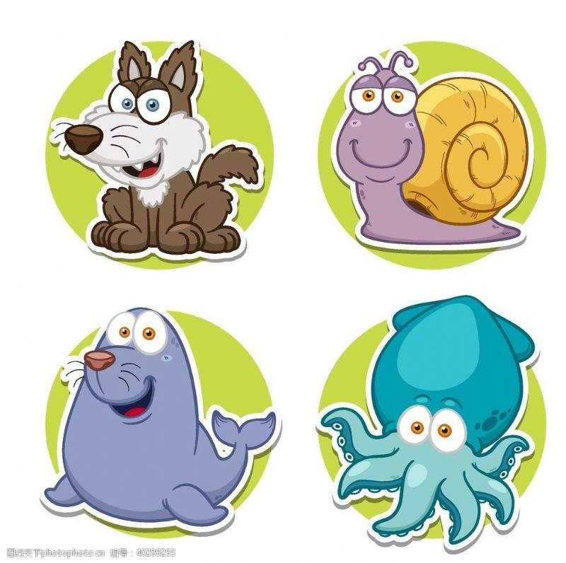 蜗牛卡通动物图片