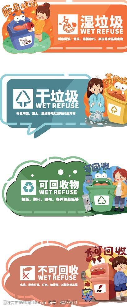 卡通垃圾分类标识图片