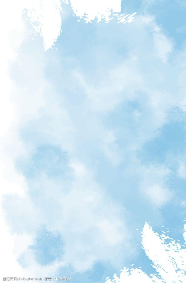 水纹蓝白笔刷纹理背景图片