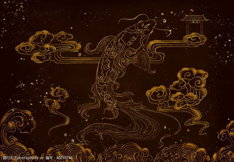 装饰画鲤鱼跃龙门中国风图片